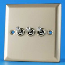 Varilight 3 Gang 10A 1 or 2 Way Dolly Toggle Light Switch Satin Chrome Finish XNT3